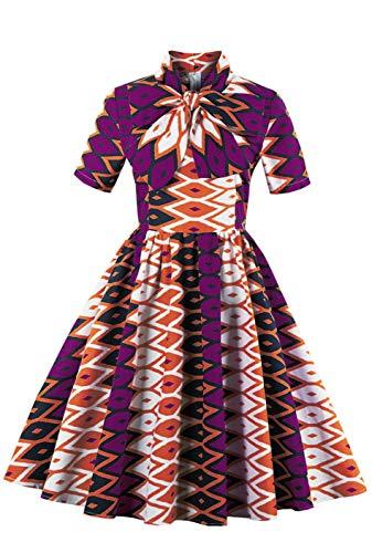 Plus Size Womens Dresses African Print Vintage A Line Swing Short Sleeve Midi Dress