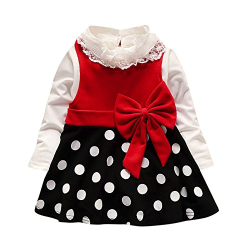 - SIN vimklo 2PCS Toddler Baby Girl Lace Shirt+Dot Bow Princess Dress Clothes Red