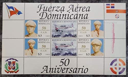 Dominicana 1998 Aviation Aircraft Airplane Flag 50th Anniversary Miniature Sheet