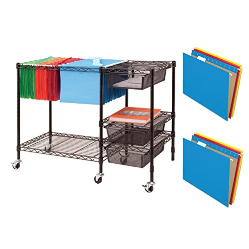 3 Piece Replacement Pick - Vertiflex All-Metal Frame Sturdy Mobile File Cart With 25-Piece Assorted Letter-Size Hanging Folders