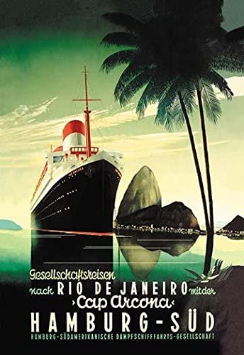 24 x 36 German advertising poster for the Cap Arcona Steamphip and travel to Rio Di Janeiro on the Hamburg South line Poster Print by unknown