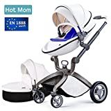 Baby Stroller 2018, Hot Mom 3 in 1 travel system Baby Carriage with Bassinet Combo,White