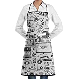 Vicrunning Video Games Black And White Sketch Style Gaming Design Aprons Bib For Mens Womens Art Lace Adjustable Adult Kitchen Waiter Aprons With Pockets