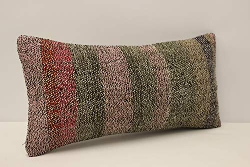 (Vintage kilim pillow cover 10x20 inch (25x50 cm) Armchair Pillow Knitting Pillow Lumbar Kilim pillow Throw Pillow cover Kilim Cushion Cover sofa pillow rustic farmhouse)