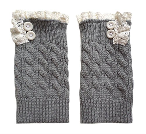 Gingas Galleria Womens Crochet Knitted Button Lace Boot Cuffs Lt Grey c2hclp6