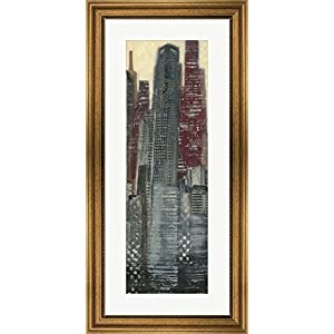 Great Art Now Urban Landscape I Panel by Norman Wyatt Jr. Framed Art Print Wall Picture, Wide Gold Frame, 17 x 35 inches