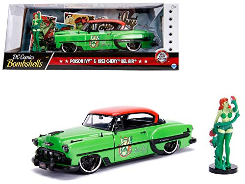 DIECAST 1:24 W/B - DC Comics Bombshells - Poison Ivy & 1953 Chevrolet BEL AIR (Green with RED TOP) 30455 by JADA ()