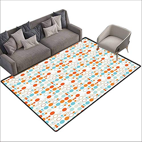 - Floor Bath Rug Geometric Simplistic Colorful Circles Rings Ovals Rounds Baby Nursery Kids Playroom Design Quick and Easy to Clean W5' x L7'10 Multicolor