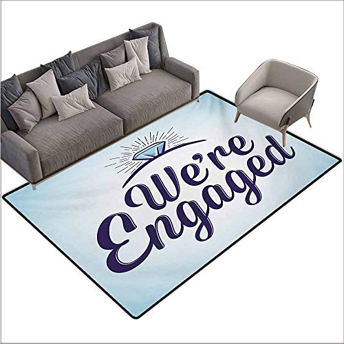 (Door Rug Increase Engagement Party We are Engaged Announcement Quote Wedding Ring Celebration Super Absorbent mud W70 xL82 Sky Blue and Navy Blue)