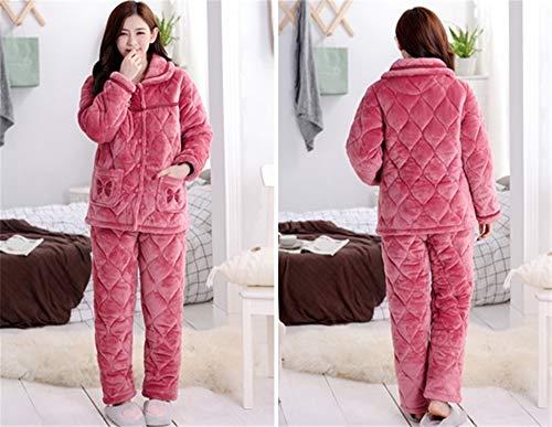 A Señoras Pijamas Grueso Traje Domicilio Invierno Servicio Leeqn Gran Caliente Bedgown Informal Tamaño Franela De Red 1XPqpw5xp
