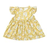 Zainafacai Toddler Baby Girl Summer Dresses,Floral Plaid Backless Ruffle Fly Sleeve Princess Dress Skirts Clothes Yellow
