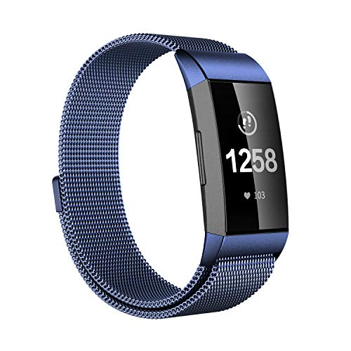 Fitlink Bands Compatible Fitbit Charge 3 & Charge 3 SE for Women Men, Magnetic Stainless Steel Milanese Loop Replacement Wristbands Accessories Watchbands Strap Multi Color, Large Small