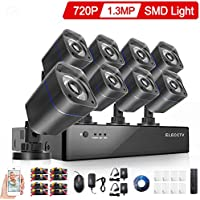 ELECCTV 8CH HDMI 1080H DVR 2000TVL Outdoor Indoor Day Night IR-CUT CCTV Surveillance Home Video Security Camera System , Motion Detection Push Alerts QR Code Quick Scan Remote Viewing- NO Hard Drive