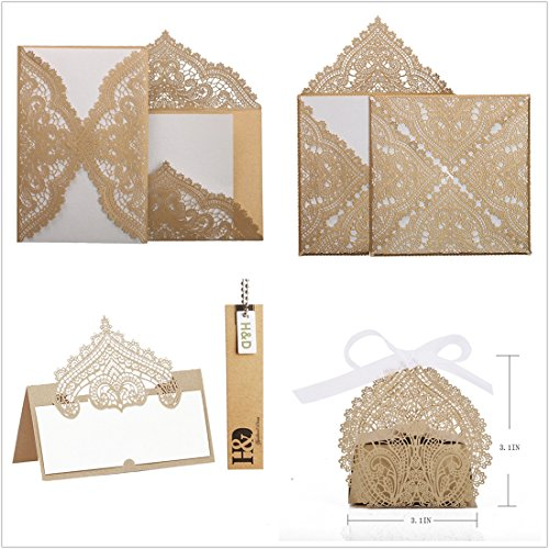 - 48Pcs/Lot Laser Cut Invitation Party Table Name Cards Candy Boxes Birthday Wedding Party Favor Sets