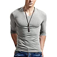 XShing Fitting Men Soft Stretchy Long Sleeves Athletic Muscle Cotton T Shirt