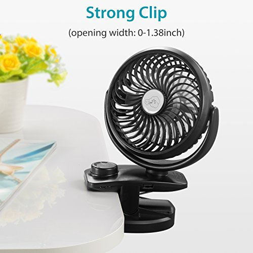 comlife battery operated clip on portable fan for baby stroller usb rechargeable 4400ma battery. Black Bedroom Furniture Sets. Home Design Ideas