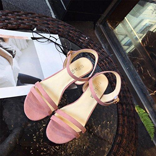 Femme Escarpin Dentelle Boucle Bout Femme Club EU Talon Bride Soiree Sexy 34 Chaussures Pointus Ete 39 Rose Escarpins Cheville Hauts Été Sandales Solike TdvY7qd