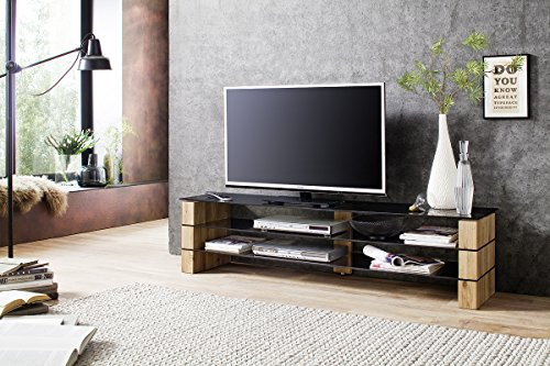"""KARI 140 TV Stand – Smoked grey glass TV console - Decorative Solid Oak blocks – Stylish TV stand for up to 60"""" TVs up to 44 lbs. – Consola TV para pantallas hasta 60"""