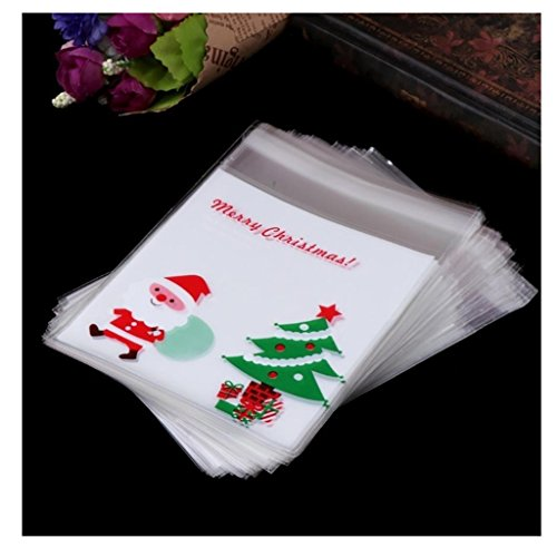 Staron Christmas Candy Bags, 100pcs Self Adhesive Plastic Seal Bag Cookies Candy Wrapping Bags Christmas Pouch (A)