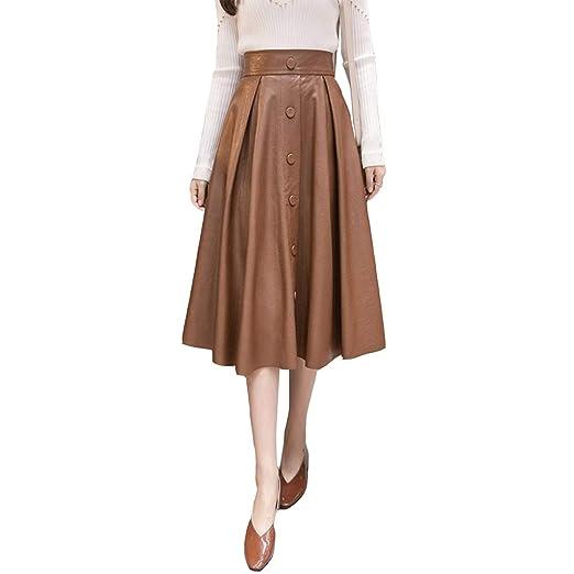 QJKai Falda de Mujer otoño e Invierno Falda Larga de Color sólido ...