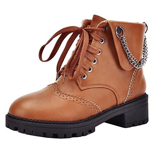 COOLCEPT Women Fashion Lace Up Mid Heel Platform Ankle Boots With Chains Brown