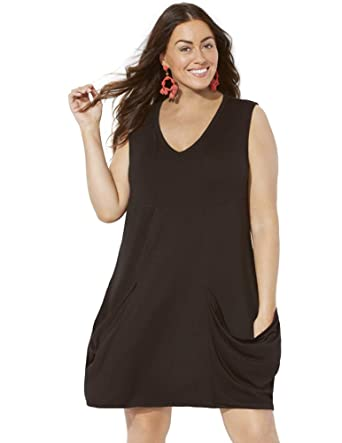 b309a9316060 Swimsuits For All Women's Plus Size Swimsuit Cover Up Dress with Pockets 10  Black