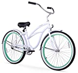 Firmstrong Urban Lady Boutique Single Speed Beach Cruiser Bicycle, 26-Inch, White/ Green Rim