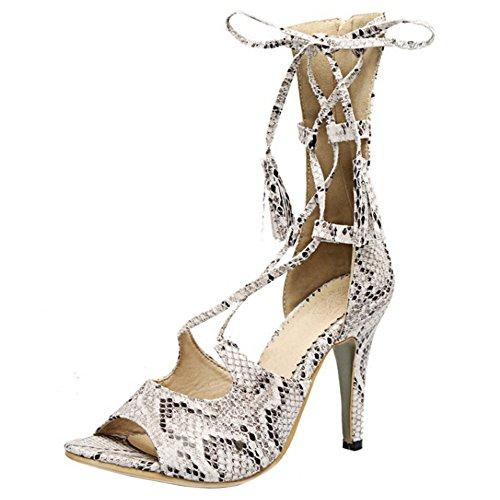 TAOFFEN Mujer Peep Toe Sandalias Moda Tacon De Aguja Cremallera Zapatos De Cordones Blanco
