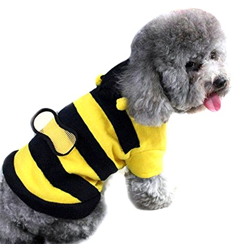 Dog In Bee Costume (Generic Fleece Lovely Bumble Bee Wings Cute Dog Cat Pet Costume Apparel Clothes Coat)