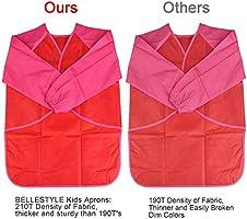 Delantales de Ni/ños BELLESTYLE 2 Pack Delantal para Cocina y la Pintura para 3-6 A/ños Ni/ños Blue and Red Azul and Rojo