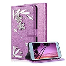 Samsung Galaxy J3 2018 Purple Wallet Case With Screen Protector,Aearl Samsung Galaxy J3 Prime 2018 Bling Crystal Diamond Flowers Feather Design Flip Kickstand Card Slot Holder magnetic Leather Cover Full Body Soft Silicone Back Phone Case