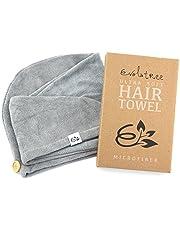 Evolatree Super Absorbent Anti-Frizz Microfiber Hair Towel - Elegant Fast Drying Hair Wrap - Neutral Gray