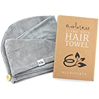 Evolatree Super Absorbent Anti-Frizz Microfiber Hair Towel - Elegant Fast Drying Hair Wrap - Neutral Gray