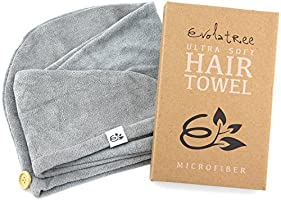 Evolatree Super Absorbent Anti-Frizz Microfiber Hair Towel - Elegant Fast Drying Hair Wrap