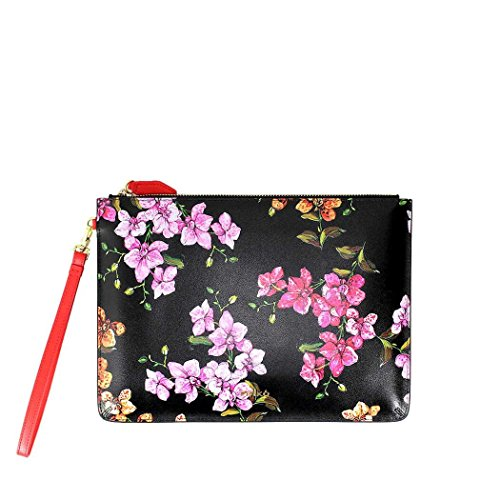Women's Accessories Pinko Spittinio Black Leather Envelope With Flowers Spring Summer 2018 by Pinko