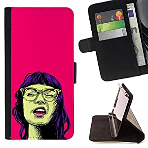 BullDog Case - FOR/Sony Xperia Z3 D6603 / - / GIRL PORTRAIT POP CULTURE GLASSES PINK NEON /- Monedero de cuero de la PU Llevar cubierta de la caja con el ID Credit Card Slots Flip funda de cuer