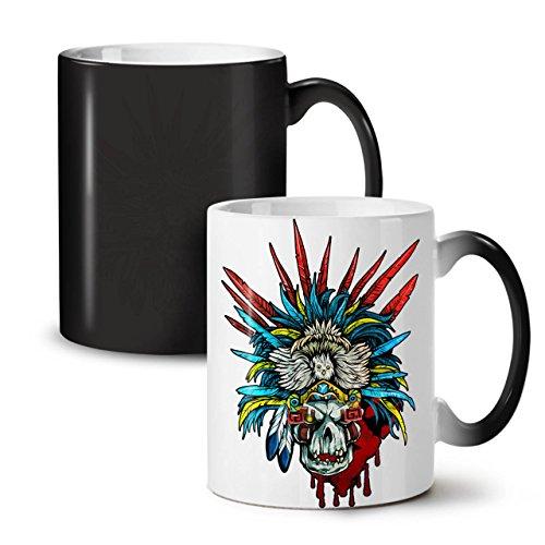 Skull Indian Warrior Costume Black Colour Changing Tea Coffee Ceramic Mug 11 oz | Wellcoda (Warrior Indian Costume)