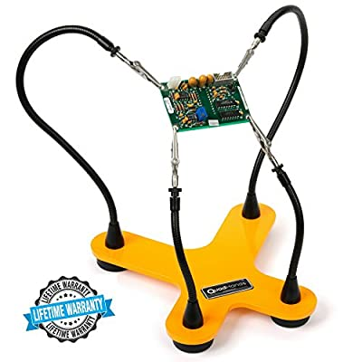 QuadHands Helping Hands Third Hand Soldering Tool and Vise - Four Flexible Metal Arms Can Be Positioned Exactly Where You Want - Professional Grade
