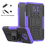 Galaxy J4 2018 case,LiuShan Shockproof Heavy Duty Combo Hybrid Rugged Dual Layer Grip Cover with Kickstand for Samsung Galaxy J4 2018 Smartphone (with 4in1 Packaged),Purple