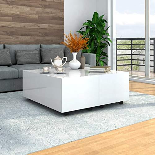 Tidyard Mesa de Centro Extensible Mesa para Sofa,100x100x35 cm,1# Blanco Brillante,con 1 Compartimento Interno y Ruedas Que se Pueden Bloquear