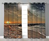 Thermal Insulated Blackout Grommet Window Curtains,Space,Magical Solar Eclipse on Beach Ocean with Horizon Sun Moon Globe Gulls Flying View,Cream Orange,2 Panel Set Window Drapes,for Living Room Bedro