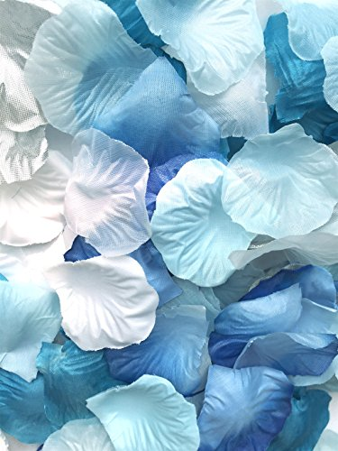 123zero 500 Pcs Mixed Color (White , Sliver, Dark Blue ,Lake Blue and Light Blue) Artificial Silk Rose Flower Petals for Party and Wedding Bridal Decoration (Blue Serise) (Blue White Flower)