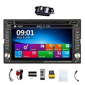 Win8 sistema est¨¦reo de 2 DIN 6.2 pulgadas de la navegaci¨®n del GPS del coche reproductor de DVD con HD de pantalla t¨¢ctil radio de coche En la unidad principal de la rociada con SD FM / AM control del volante + c¨¢mara Bluetooth USB / / Copia de seguridad