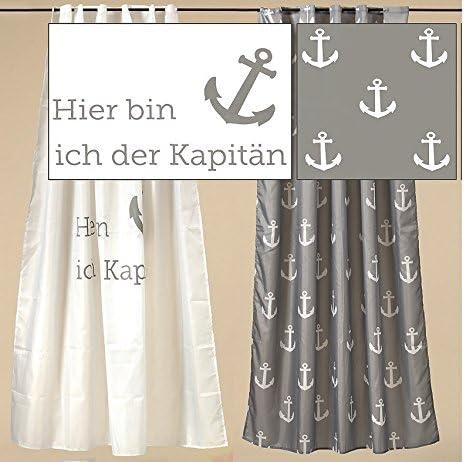 Cortina de ducha decorativo Mampara con ancla Blanco Gris 180 x 200 cm cortina Mampara, poliéster, gris, 180 x 200 cm: Amazon.es: Hogar