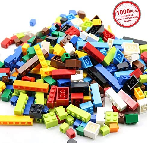 Boys Classic Creative Building Blocks Compatible with All Major Brands Birthday Gift for Kids Bulk Basic Bricks Toys 1100 PCs Building Bricks in 17 Popular Colors and 147 Mixed Shapes