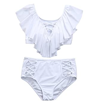 Tallas Grandes Bikini, Mallloom Dos piezas de baño mujer impresa baño volantes ropa de playa beachwear (5XL, Blanco): Amazon.es: Hogar