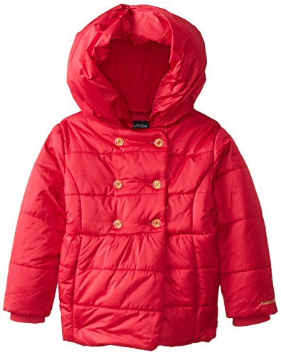 Nautica Little Girls'  Double Breasted Puff Coat, Medium Pink, Small