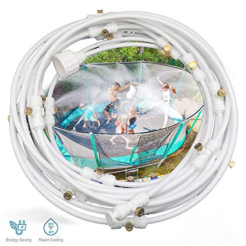 20ft 6 Nozzles Trampoline Water Play Sprinklers for Kids- Summer Outdoor Water Fun Game Toys Accessories - Great for Boys & Girls and Adults - Attached On Trampoline Safety Net Enclosure White