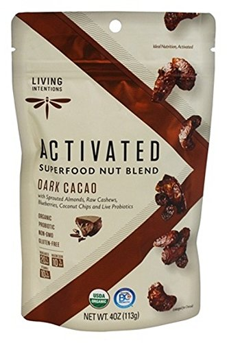 LIVING INTENTIONS, NUT BLEND, SPRTD, DK CACAO, Pack of 6, Size 4 OZ - No Artificial Ingredients Dairy Free Wheat Free 95%+ Organic