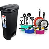 Combo of Rubbermaid 13 Gallon Step-on Wastebasket Recycling Garbage Trash Can with Lid and 15 Piece Nonstick Cookware Set